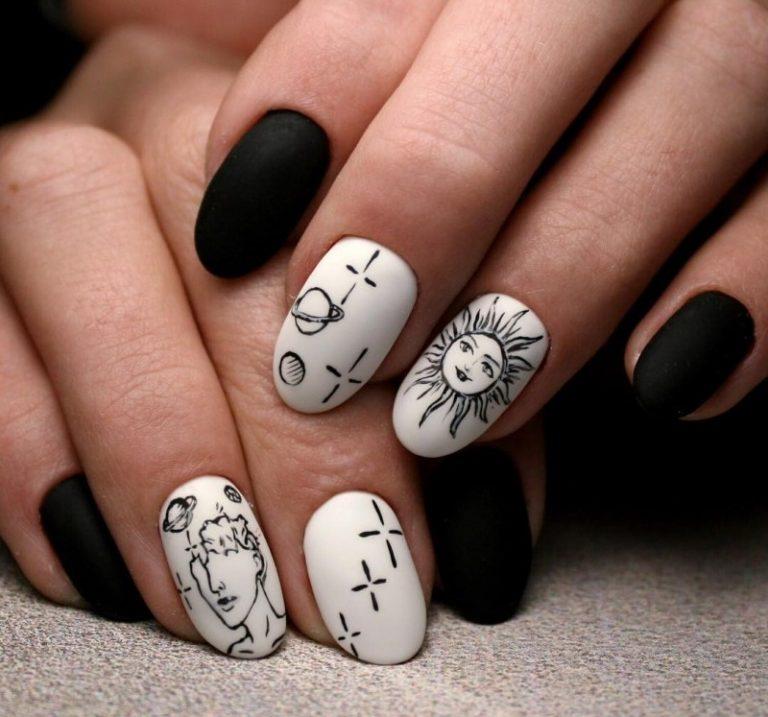 черно белая картинка дизайна ногтей приумножить положительные эмоции