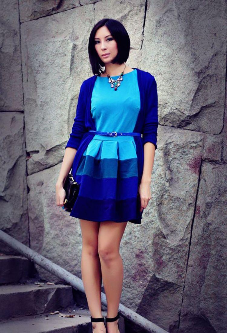 Луки с синим платьем фото